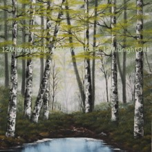 pond and birch trees oil painting