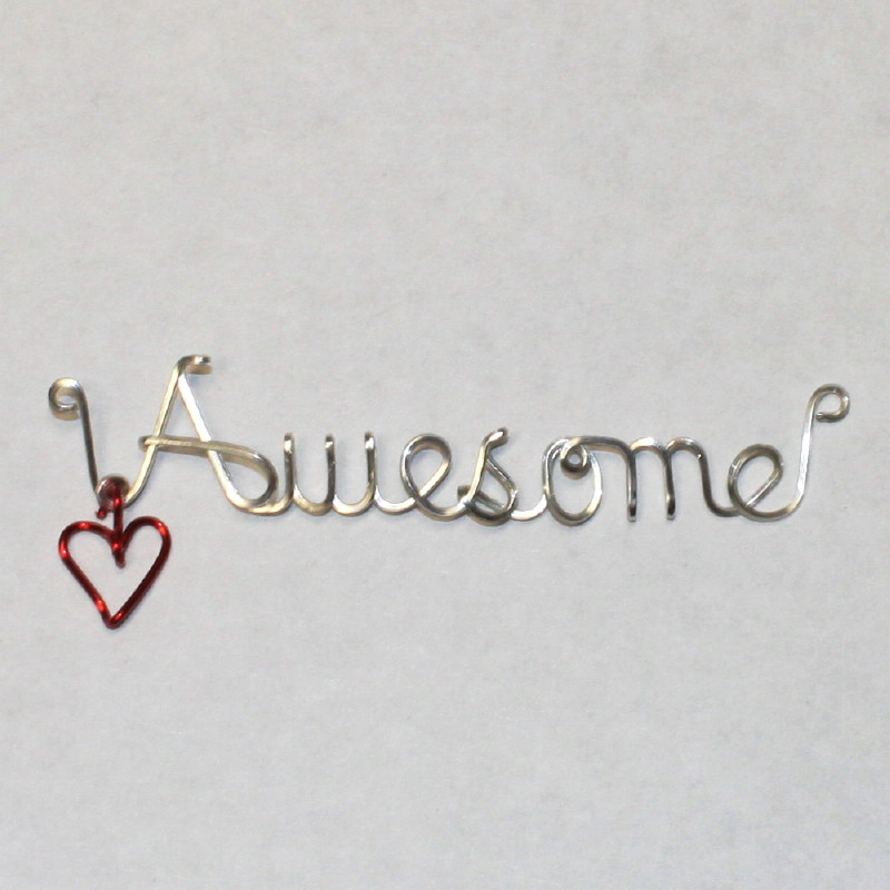 Awesome Name Word Written in Sterling Silver Wire Necklace Jewelry ...