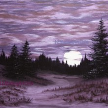 Purple Full Moon Oil Painting