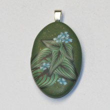 Blue Flowers Green Leaves polymer clay pendant