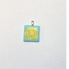 Yellow Rose on Teal Tile