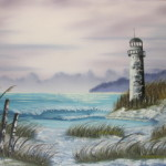Lighthouse Shore Oil Painting