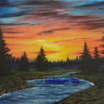 Sunset At the River Oil Painting