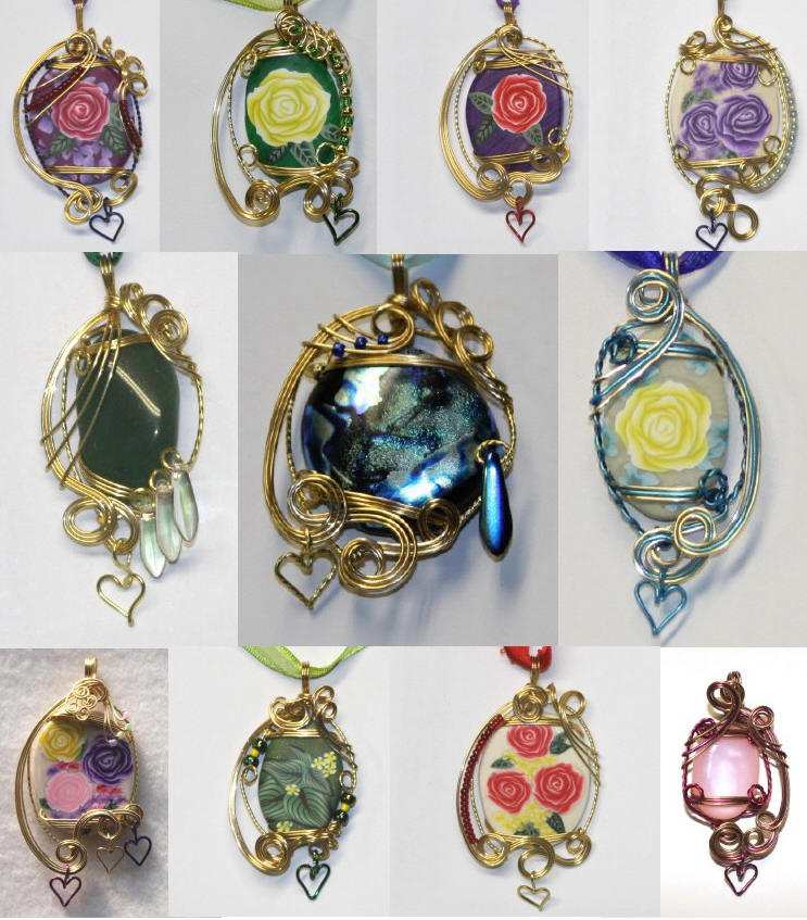Gold sculpted cabochons