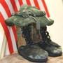 tri color boot sculpture side