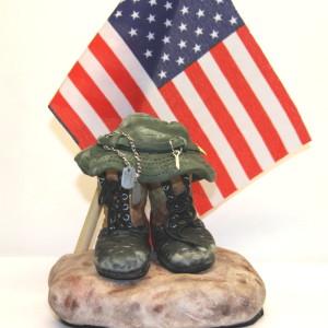 close view tri color boot sculpture