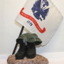 Military Sculpture with Army Flag