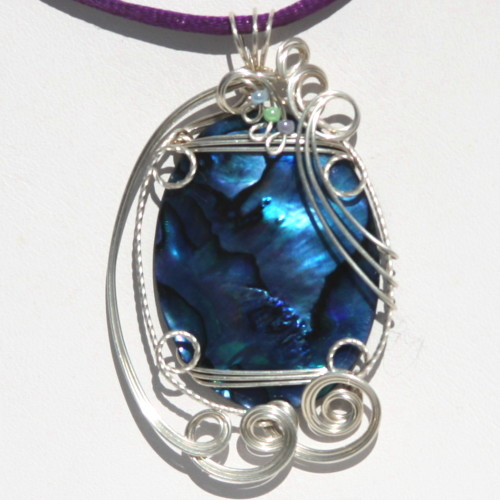 blue paua sterling silver sculpted