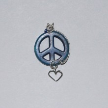 blue peace symbol with sterling silver wire