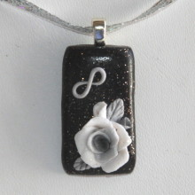 infinity white rose silver bail