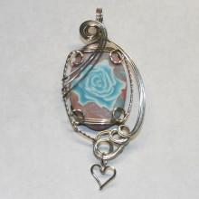 dusty rose turquoise rose pendant