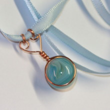 baby blue marble pendant