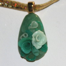 teal roses pendant
