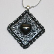 Faux Balinese Silver Hematite Heart Pendant
