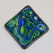 Blue and Green Cat Eye Abstract Polymer Clay Cabochon