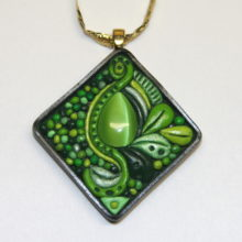 Lime Green Cat Eye Abstract Polymer Clay Cabochon Gold Bail