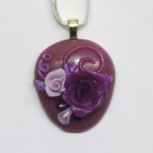 Lavender Cabochon Purple Roses Polymer Clay Pendant Silver Bail