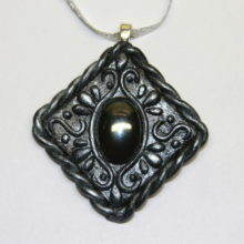 Hematite Faux Balinese Silver Polymer Clay Pendant