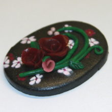 Crimson Roses Pink Flowers on Black Clay Pendant