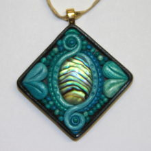 Paua Polymer Clay Pendant with Gold Bail