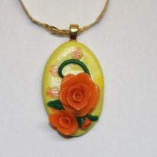 Yellow Cabochon Orange Roses Gold Bail