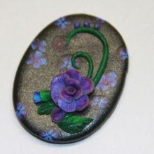 Purple Blue Rose on Black Polymer Clay Cabochon