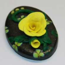Yellow Rose and Flowers on Black Polymer Clay Pendant