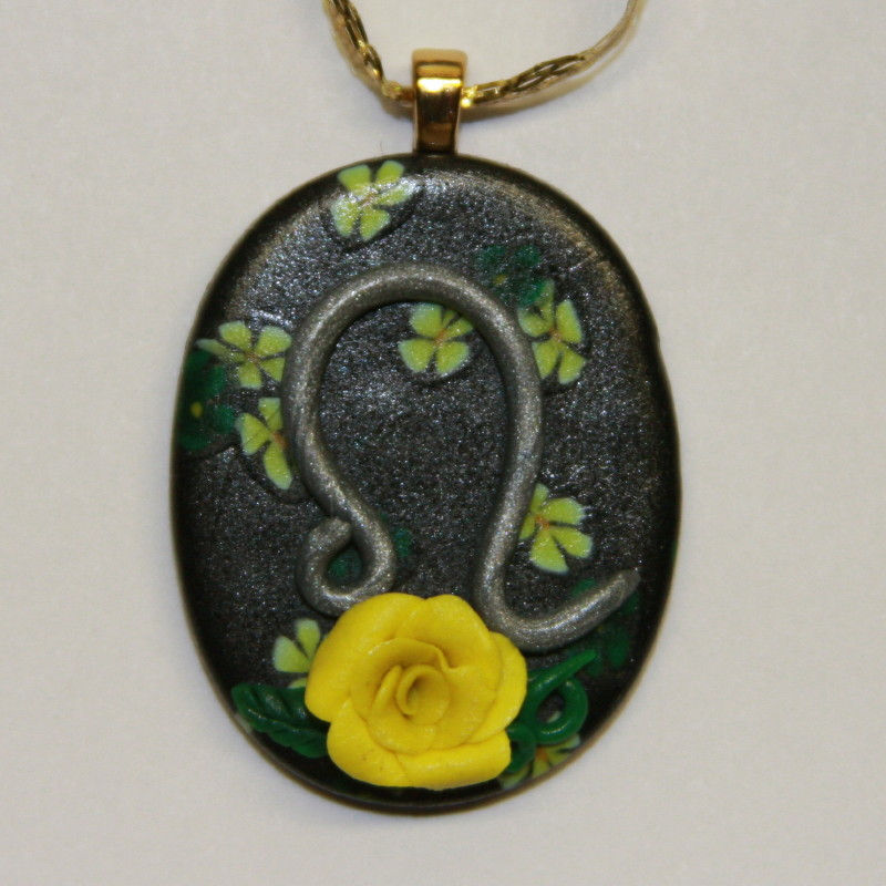 Leo yellow rose astrology zodiac polymer clay pendant cindi rae leo zodiac yellow rose pendant gold bail mozeypictures Image collections
