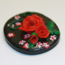 Red Roses and Flowers on Black Cabochon