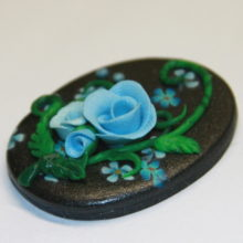 Blue Roses Flowers on Black Polymer Clay