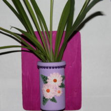 Pink Daisies on Lavender Plant Sprouter Wall Hanging